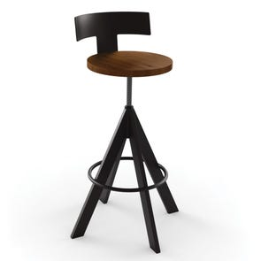 Amisco Uplift Screw Stool with Backrest and Wood Seat