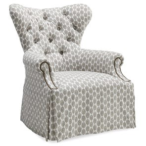 A.R.T. Furniture Ava Grey Tufted Back Skirted Wing Chair