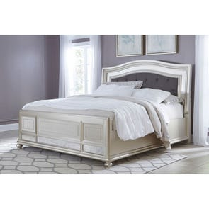 Signature Design by Ashley Coralayne Queen Size Mirrored and Upholstered Panel Bed