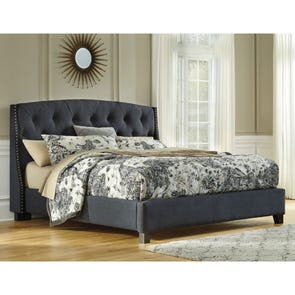 Signature Design by Ashley Kasidon Queen Size Tufted Upholstered Bed in Dark Gray