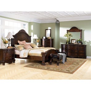 Signature Design by Ashley New Haven 5 Piece Panel Bedroom Set with 2nd Nightstand Free