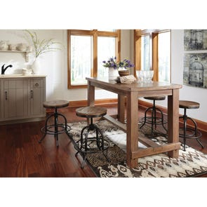Signature Design by Ashley Pastoral Charm Pinnadel 5 Piece Counter Height Dining Set with Swivel Stools