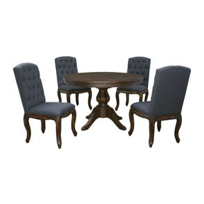Signature Design by Ashley Timber and Tanning Trudell 5 Piece Round Upholstered Chair Table Dining Room Set