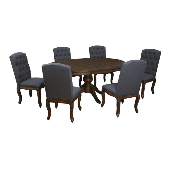 Signature Design by Ashley Timber and Tanning Trudell 7 Piece Round  Upholstered Chair Table Dining Room Set