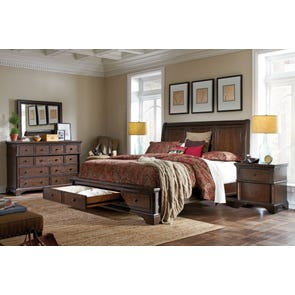aspenhome Bancroft 4 Piece Sleigh Storage Bedroom Set with 2nd Nightstand Free