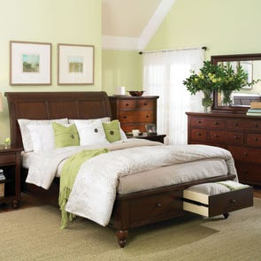 aspenhome Cambridge Sleigh Storage Bed in Cherry