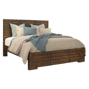 aspenhome Dimensions Queen Block Panel Bed in Spiced Rum