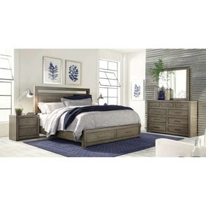 aspenhome Modern Loft King Panel Storage Bed in Greystone