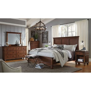 aspenhome Oxford Cal King Panel Bed in Whiskey Brown