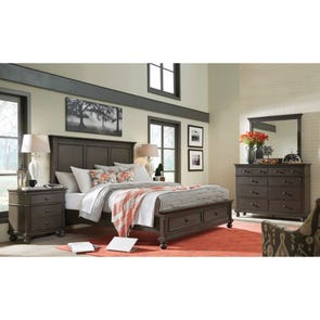 aspenhome Oxford King Panel Storage Bed in Peppercorn
