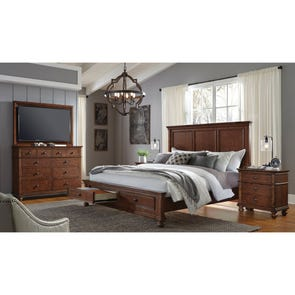 aspenhome Oxford Cal King Panel Storage Bed in Whiskey Brown
