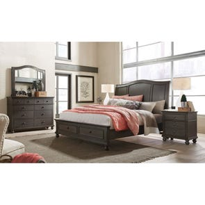 aspenhome Oxford King Sleigh Storage Bed in Peppercorn