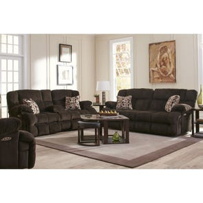 Catnapper Brice Lay Flat Power Reclining Console Loveseat with Power Headrest in Chocolate
