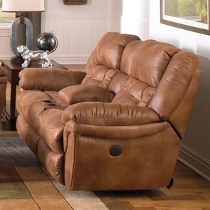 Catnapper Joyner Lay Flat Reclining Console Loveseat in Almond with Power Option