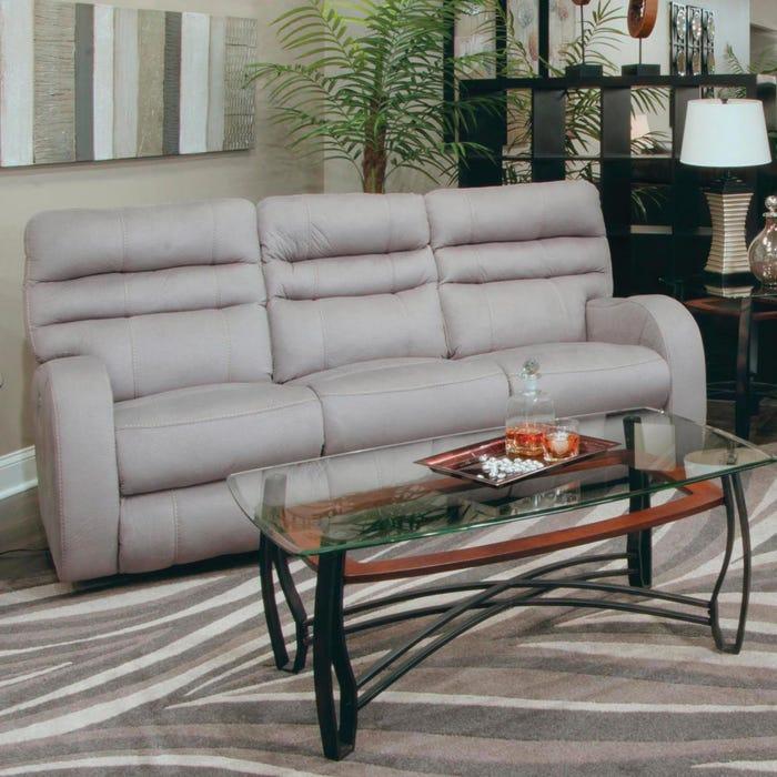 Catnapper Kelsey Power Lay Flat Reclining Sofa with Power Headrest in  Aluminum