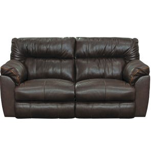 Catnapper Milan Leather Lay Flat Power Reclining Console Loveseat in Chocolate