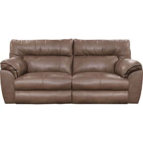 Catnapper Milan Leather Lay Flat Reclining Sofa in Smoke