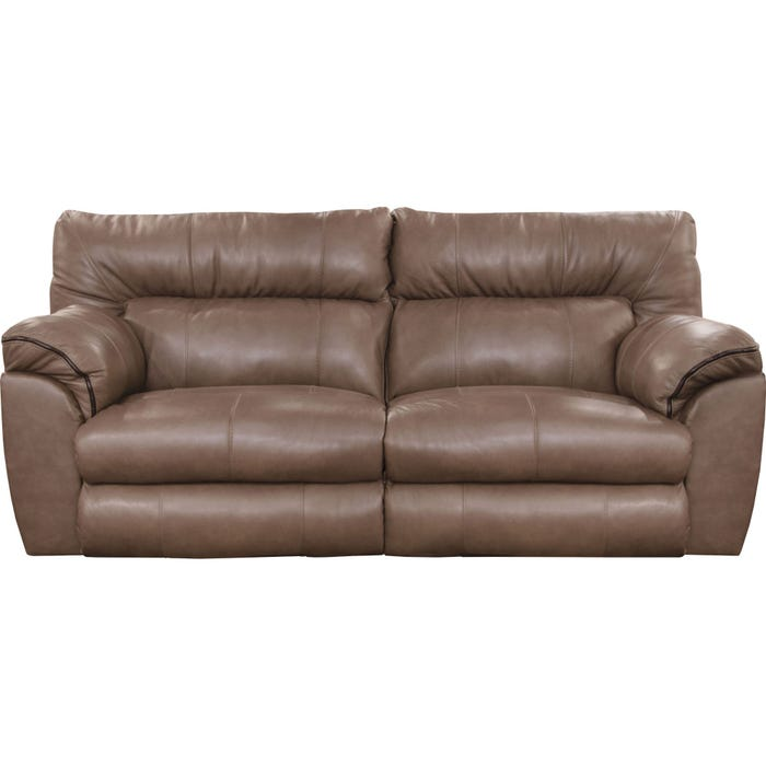 Catnapper Milan Leather Lay Flat Reclining Sofa in Smoke