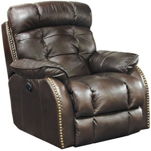 Catnapper Patterson Leather Lay Flat Power Recliner in Chcocolate
