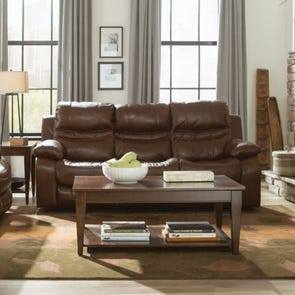Catnapper Patton Leather Lay Flat Reclining Sofa in Chestnut