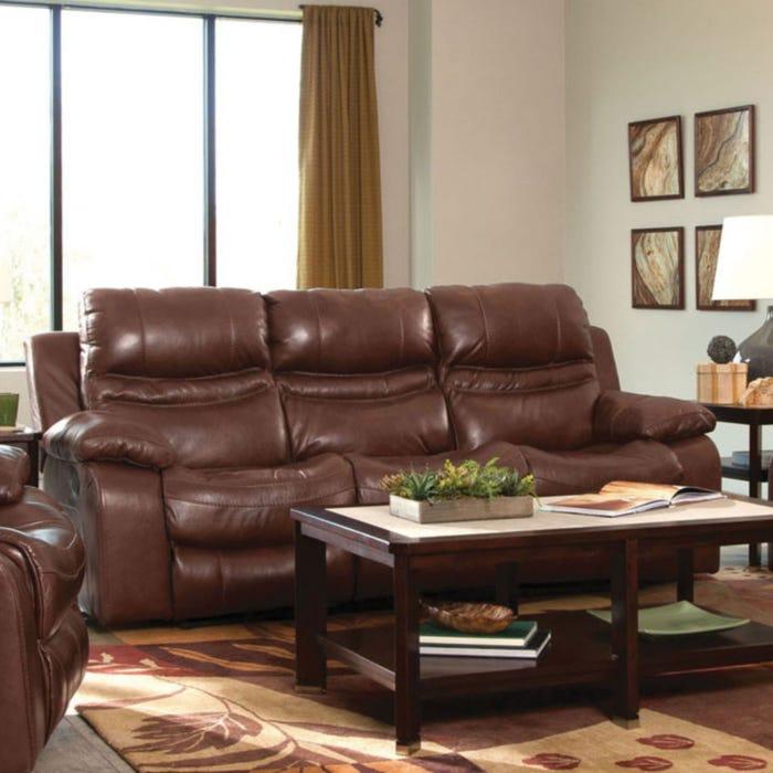 Catnapper Patton Leather Lay Flat Reclining Sofa in Walnut