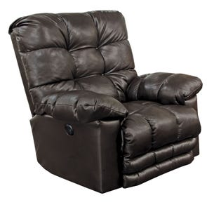 Catnapper Piazza Leather Lay Flat Power Recliner with X-tra Comfort Footrest in Chocolate