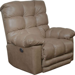 Catnapper Piazza Leather Lay Flat Power Recliner with X-tra Comfort Footrest in Smoke