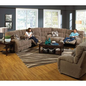 Catnapper Siesta Lay Flat Sectional in Porcini with Power Option