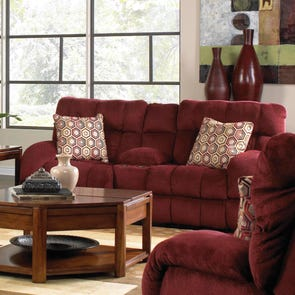 Catnapper Siesta Lay Flat Reclining Console Loveseat in Wine with Storage and Power Option