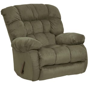 Catnapper Teddy Bear Chaise Swivel Glider Recliner in Sage