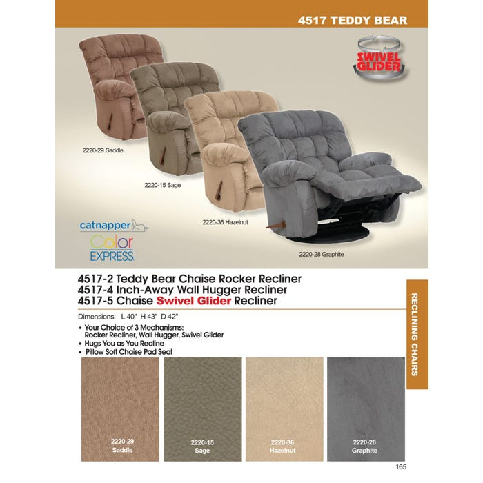 Groovy Catnapper Teddy Bear Chaise Swivel Glider Recliner In Saddle Gamerscity Chair Design For Home Gamerscityorg