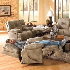 Catnapper Voyager Lay Flat Recliner in Brandy with Power Option
