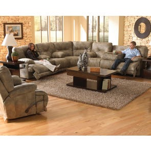 Catnapper Voyager Lay Flat Reclining Sectional in Brandy with Power Option
