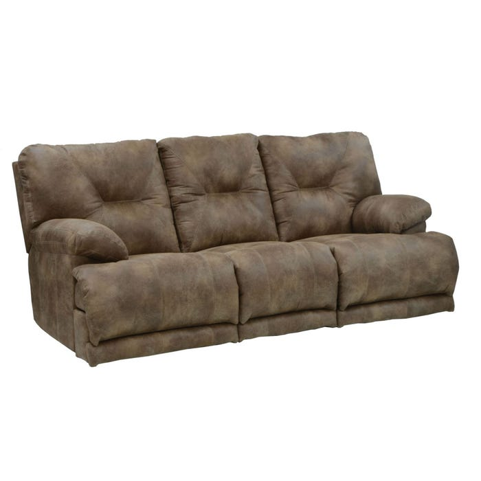 Catnapper Voyager Lay Flat Triple Reclining Sofa in Brandy with Power Option