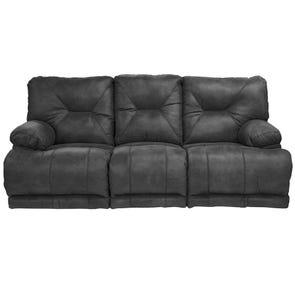 Catnapper Voyager Lay Flat Reclining Sofa in Slate with Table and Power Option