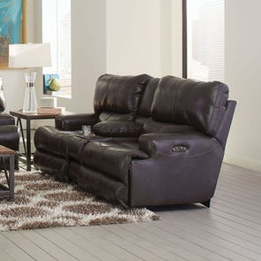 Catnapper Wembley Leather Lay Flat Reclining Console Loveseat in Steel