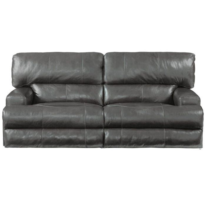 Catnapper Wembley Leather Lay Flat Reclining Sofa in Steel