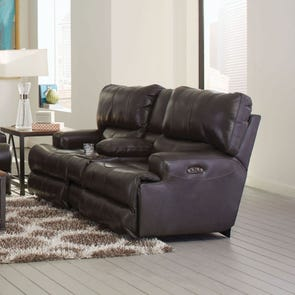 Catnapper Wembley Leather Power Lay Flat Reclining Console Loveseat with Power Headrest in Steel