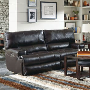 Catnapper Wembley Leather Power Lay Flat Reclining Sofa with Power Headrest in Chocolate
