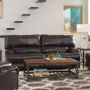 Catnapper Wembley Leather Power Lay Flat Reclining Sofa with Power Headrest in Steel