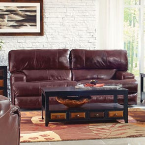 Catnapper Wembley Leather Power Lay Flat Reclining Sofa with Power Headrest in Walnut