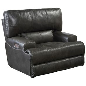 Catnapper Wembley Leather Power Lay Flat Recliner with Power Headrest in Steel