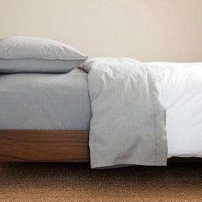 CIMINO HOME Chambray Ash Grey Queen Sheet Set