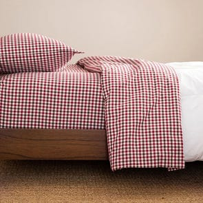 CIMINO HOME Gingham Chili Queen Sheet Set