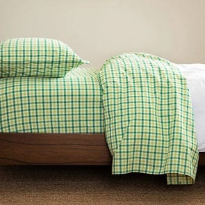 CIMINO HOME Gingham Nile Green Queen Sheet Set