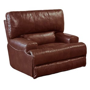 Clearance Catnapper Wembley Leather Lay Flat Recliner in Walnut OVFB052003