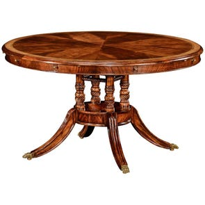 """Clearance Jonathan Charles Buckingham 53"""" Mahogany and Satinwood Round To Oval Dining Table OVFCR031901"""