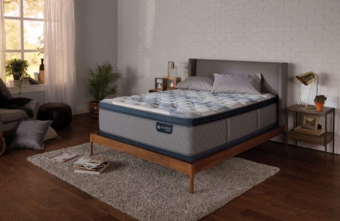 Queen Serta Icomfort Hybrid Blue Fusion 300 Plush Pillow Top