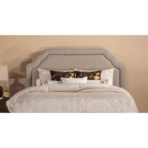Hillsdale Furniture Carlyle Fabric Upholstered Headboard with Bed Frame in Light Taupe Queen Size