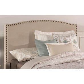 Hillsdale Furniture Kerstein Fabric Upholstered Headboard with Bed Frame in Light Taupe Queen Size